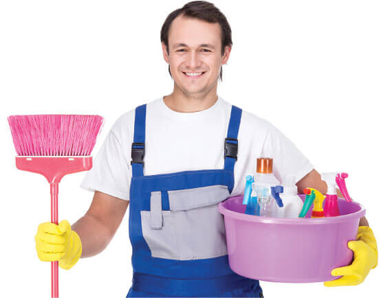 photo of a cleaner with his equipment ready for work