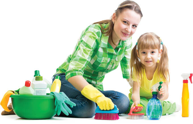 Image of a cleaner and her child cleaning a floor