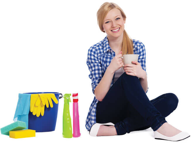 photo of a female cleaner having a break with a nice cup of tea