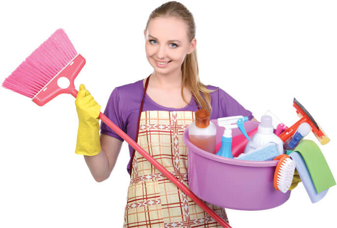 photo of a cleaner with her tools ready for work