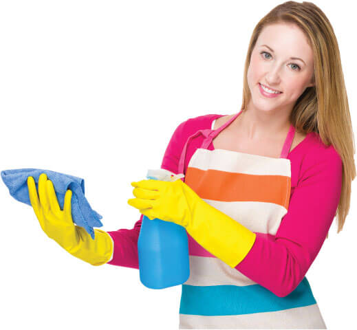 image of a cleaner with her tools ready to do some cleaning work